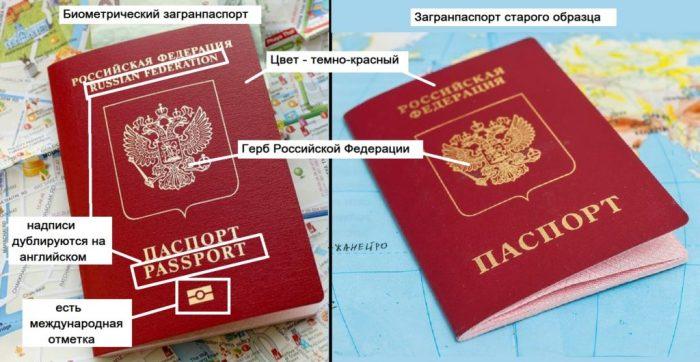 Отличия загранпаспортов старого и нового образцов (обложка)