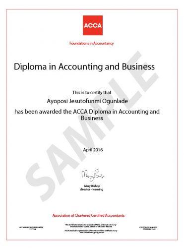 Фото сертификата ACCA
