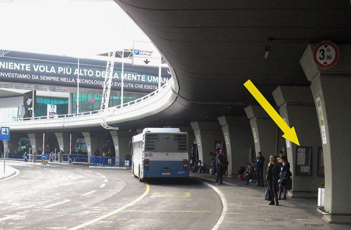 Остановка автобусов COTRAL в аэропорту Fiumicino