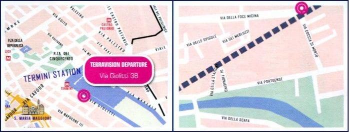 Схемы остановок автобусов Terravision