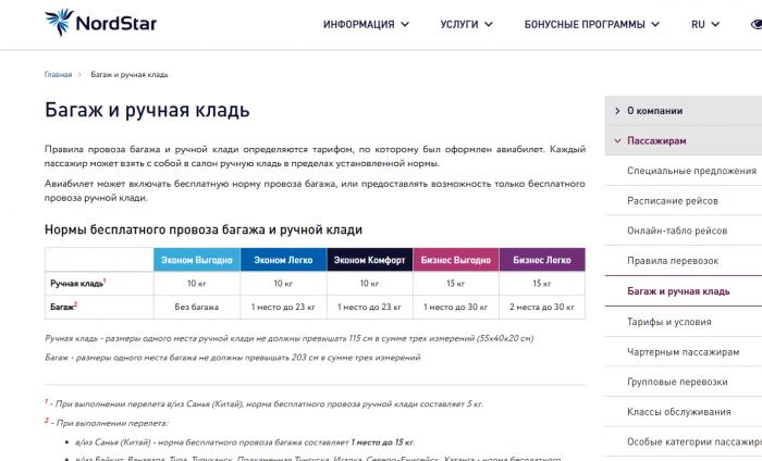 Сайт авиакомпании Нордстар