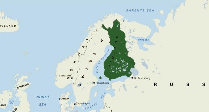 Финляндия на карте