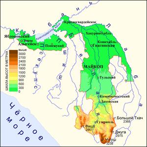 Физическая карта Адыгеи