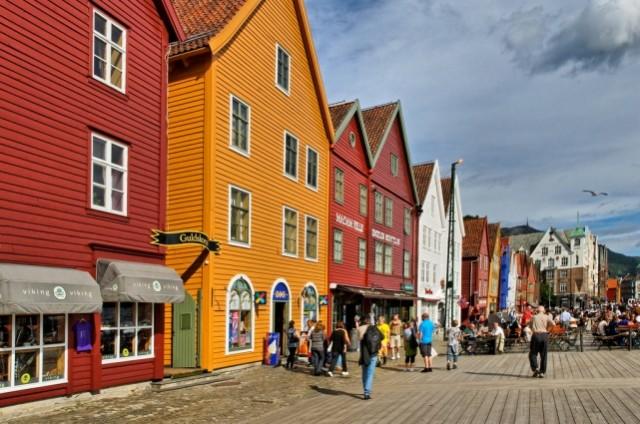 Старый портовый квартал Брюгген в городе Берген. Норвегия