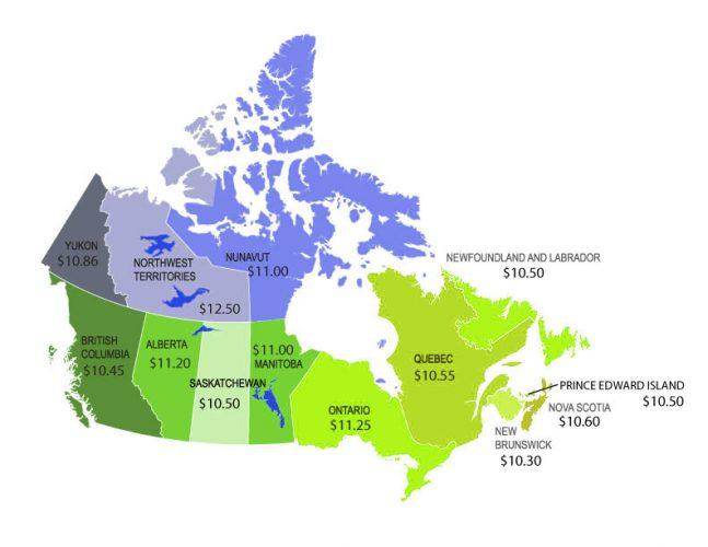 Минимальная почасовая заработная плата в Канаде