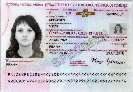 Внутренняя страница паспорта гражданина Чехии