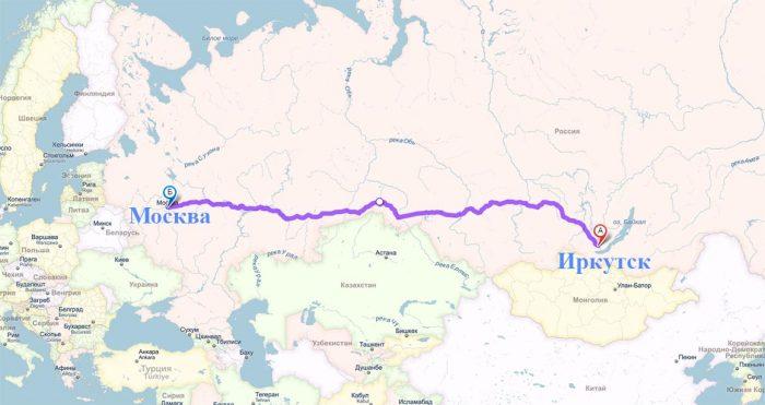 Расположение Иркутска на карте