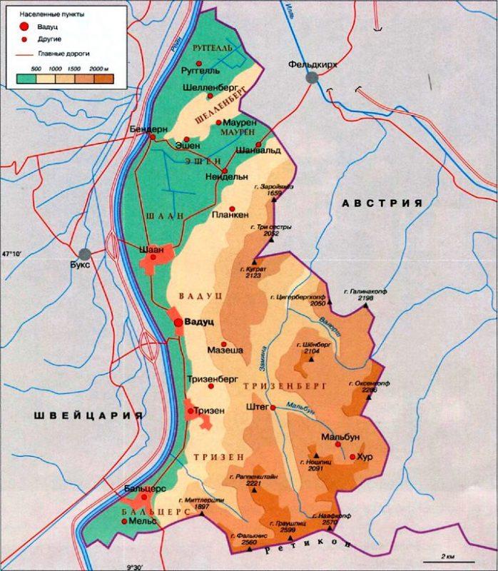 Карта Лихтенштейн