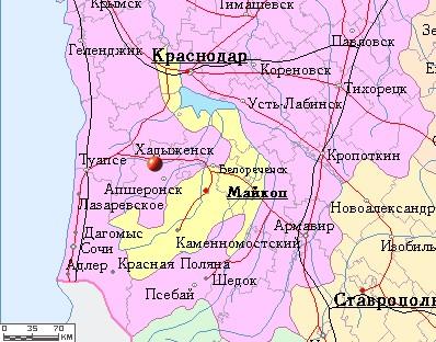 Хадыженск на карте