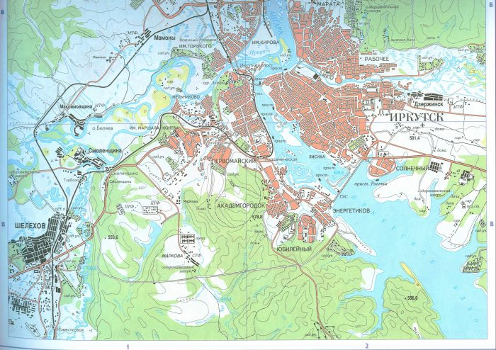 Карта города Иркутск и пригородов