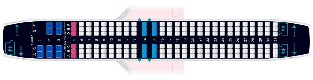 Схема салона лайнера авиакомпании NordStar