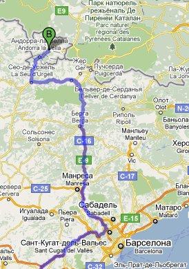 Маршрут Барселона-Андорра