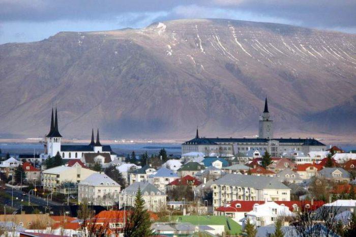город, горы, Рейкьявик, Исландия