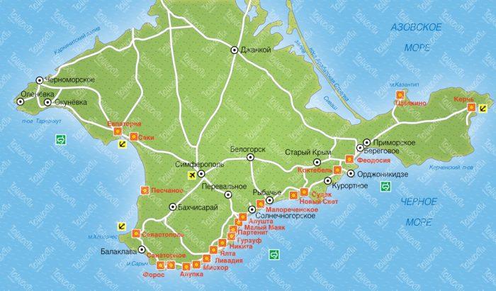 Ялта. Расположение на карте Крыма