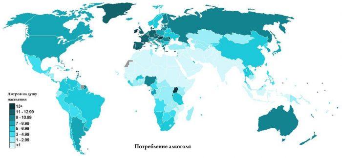 Потребление алкоголя на карте мира