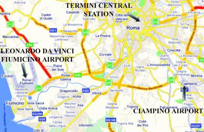 Рассположение на карте Рима, аэропорта Фьюмичино и вокзала Термини