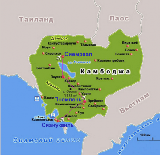 Карта Камбоджи