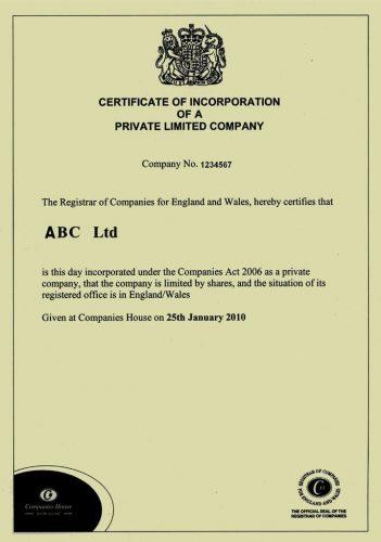 Свидетельство о регистрации компании в Великобритании