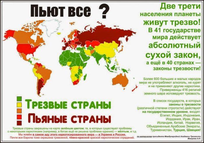 Пьяные и трезвые страны в мире