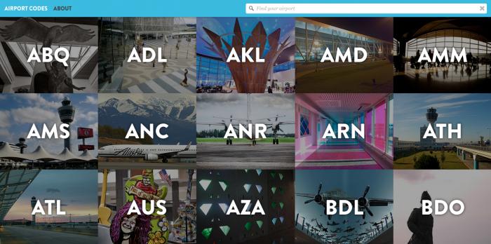 Скриншот сайта Airport Codes