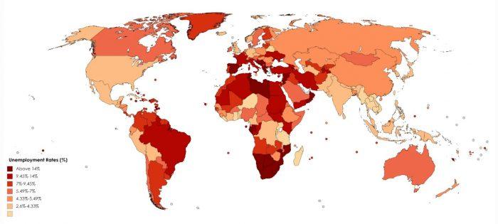 Карта уровня безработицы по странам мира