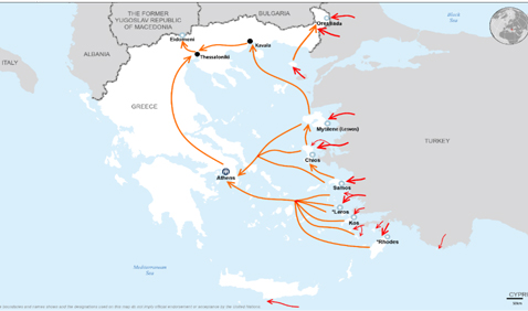 Карта Греции с местами размещения беженцев