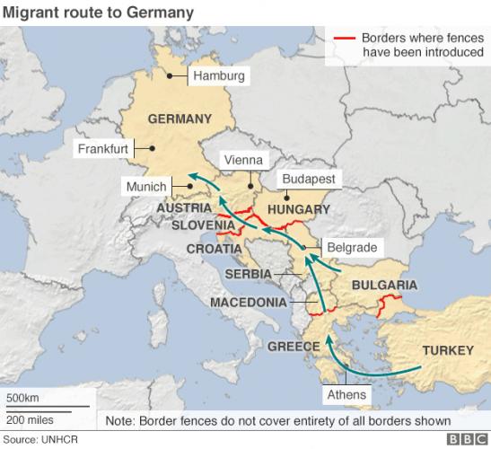 Карта миграции беженцев через Грецию в Германию