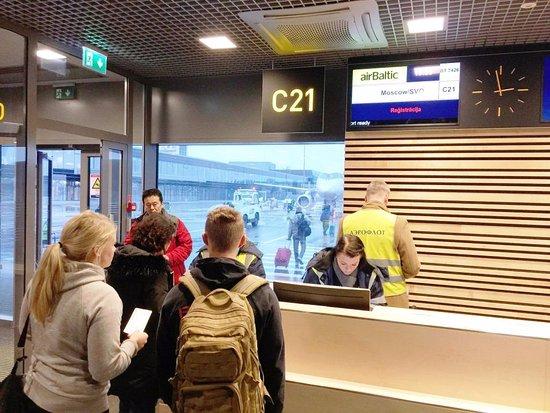 Посадка на рейс в Москву в аэропорту г. Рига