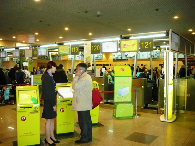 Стойки регистрации S7 Airlines в аэропорте Домодедово