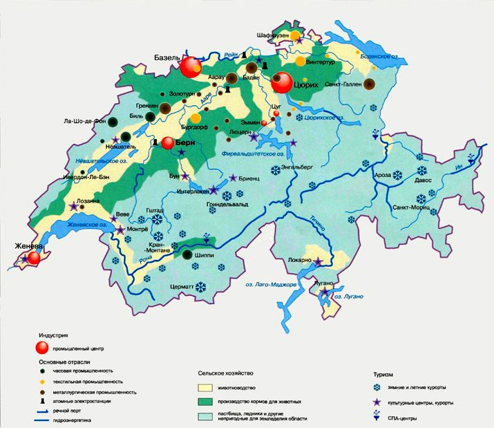 Экономика Швейцарии на карте