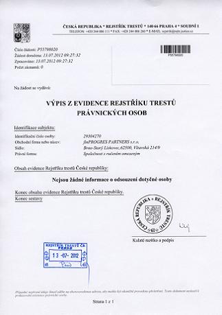 Справка о несудимости в Чехии