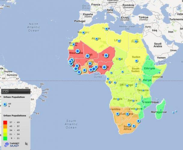 Карта уровня урбанизации. Африка
