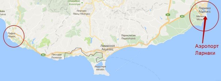Карта маршрута Ларнака-Пафос