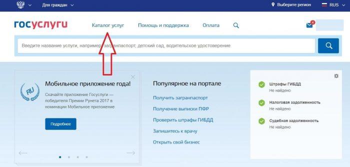 Скриншот сайта госуслуг