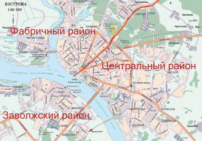 Карта города Кострома