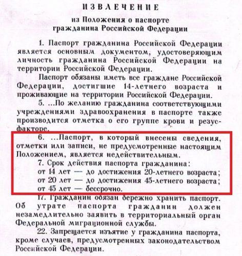 Извлечение из положения о паспорте РФ