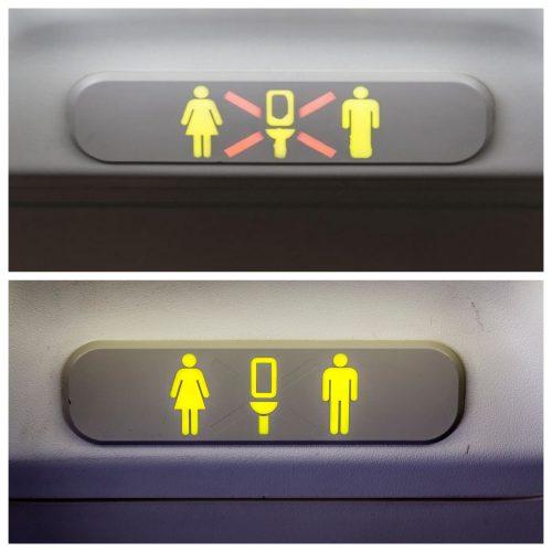 Обозначения над туалетом
