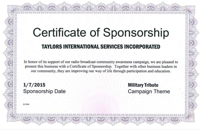 пример certificate of sponsorship