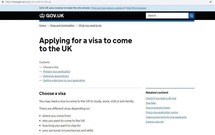 скриншот сайта консульства Великобритании