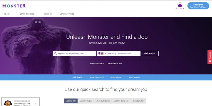 Скриншот monster.co.uk