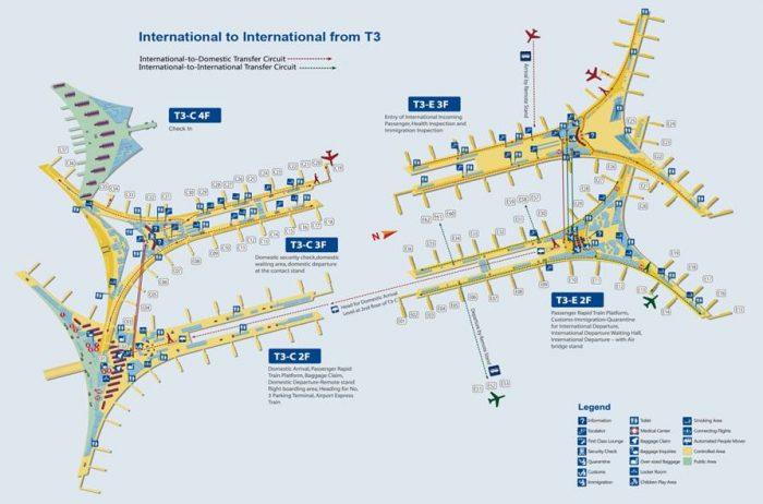 Схема аэропорта Пекина, терминал 3