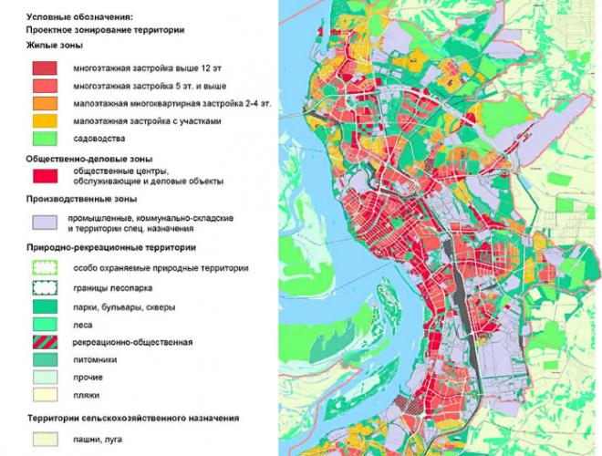 Схематическое изображение Хабаровска на карте
