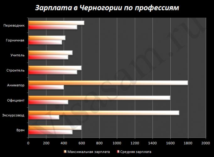 Зарплата в Черногории по профессиям