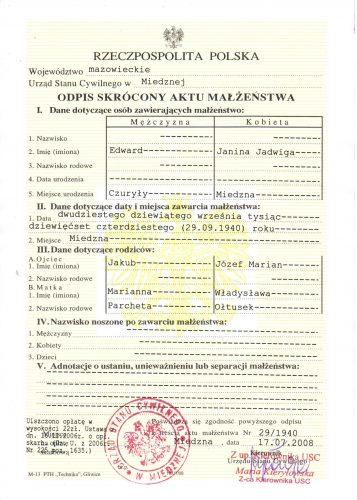 Свидетельство брака в Польше