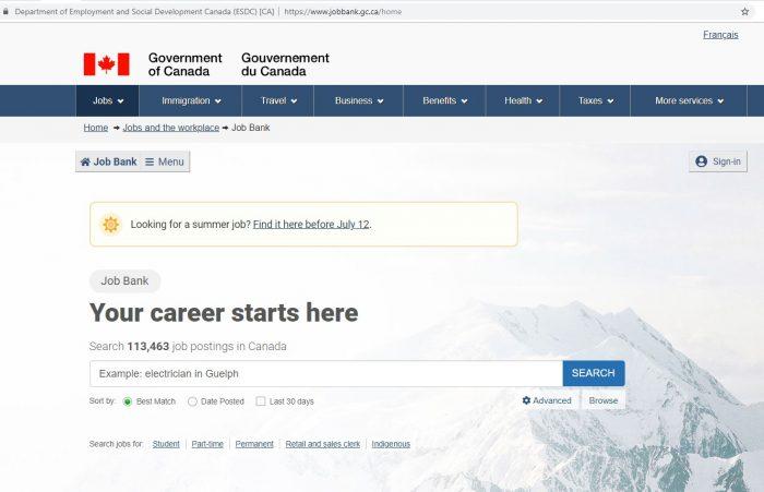 скриншот сайта Job Bank