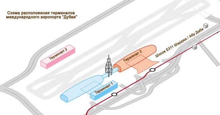 Схема расположения терминалов в аэропорту Дубаи