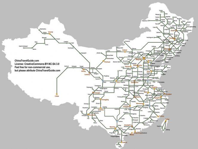 Карта высокоскоростных железнодорожный линий в Китае
