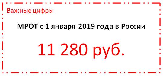 МРОТ с 1 января 2019 года в России сумма