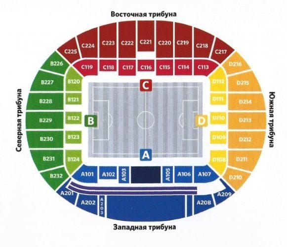 Схема стадиона Нижний Новгород