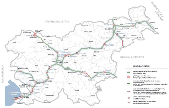 Схема расположения платных дорог в Словении